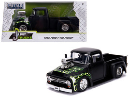 "1956 Ford F-100 Pickup Truck with Blower Matt Black with Flames ""Just Trucks\""  - $34.30"