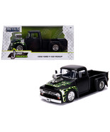 "1956 Ford F-100 Pickup Truck with Blower Matt Black with Flames ""Just T... - $34.30"