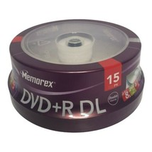 Memorex DVD+R DL Double Layer 8.5GB 8x 240 min 15 pack Dual Layer Blank DVDs - $15.99