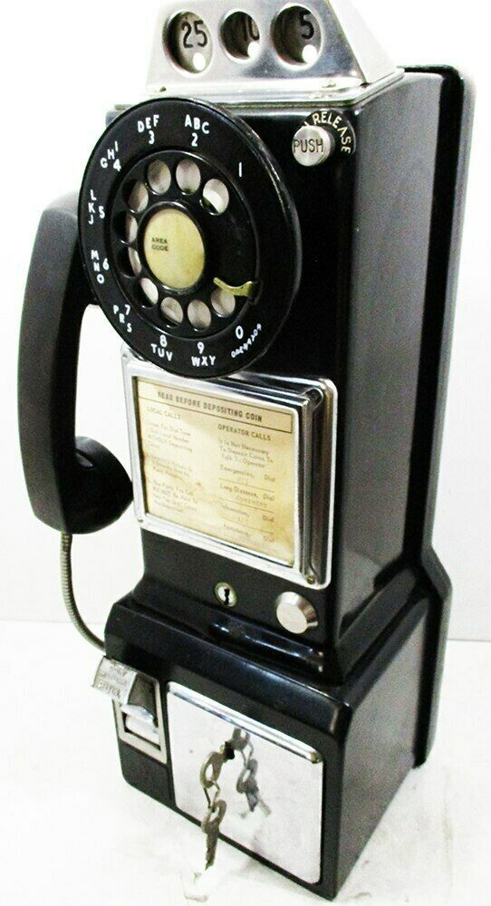 Western Electric Pay Telephone 3 Coin Slot 1960's Rotary Dial Operational