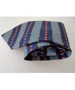 Paolo Gucci Necktie Equestrian Horse Bit Blue Red Gold 100% Silk Made in... - $14.89