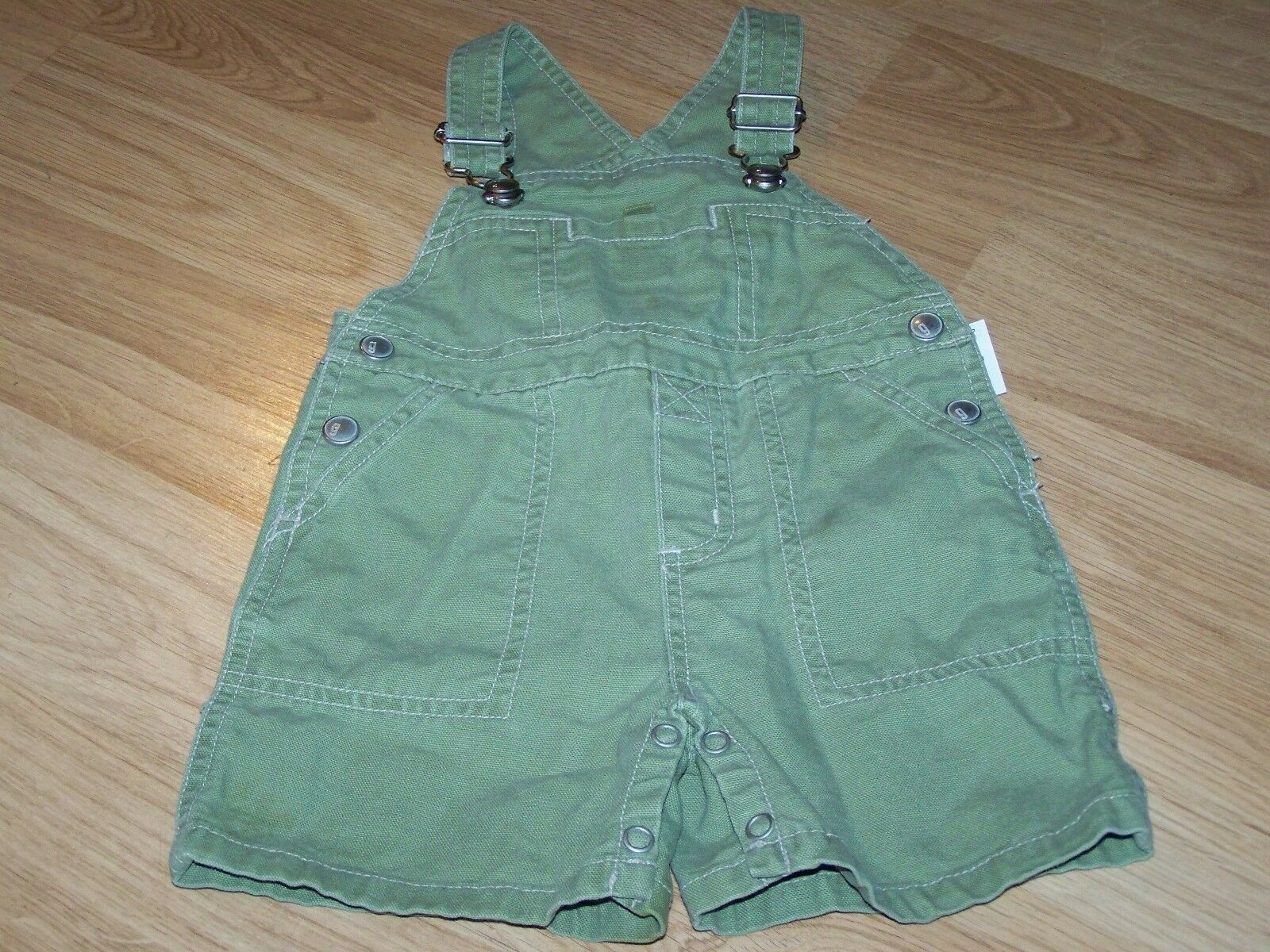 Primary image for Infant Size 3-6 Months Gymboree Solid Green Shortalls Bib Overalls EUC