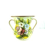 Antique Castelli Italy Pottery Hand Painted Floral Handled Vase-a second SC - $26.68