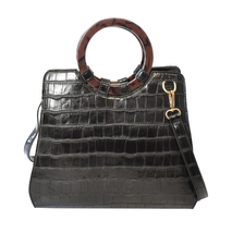 Women's Embossed Faux Crocodile Pattern Handbag Vegan Textured Leather Purse image 4