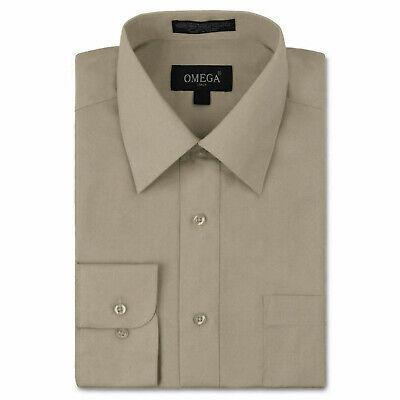 Omega Italy Men's Long Sleeve Solid Khaki Button Up Dress Shirt Size 2XL