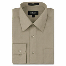 Omega Italy Men's Long Sleeve Solid Khaki Button Up Dress Shirt Size 2XL