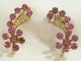 Vintage PINK Rhinestones FLOWER Gold Plated HUGGIE Screwback Earrings Es... - $14.84