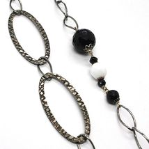 SILVER 925 NECKLACE BURNISHED, ONYX, SPINEL, LENGTH 39 3/8in, CHAIN OVAL image 3