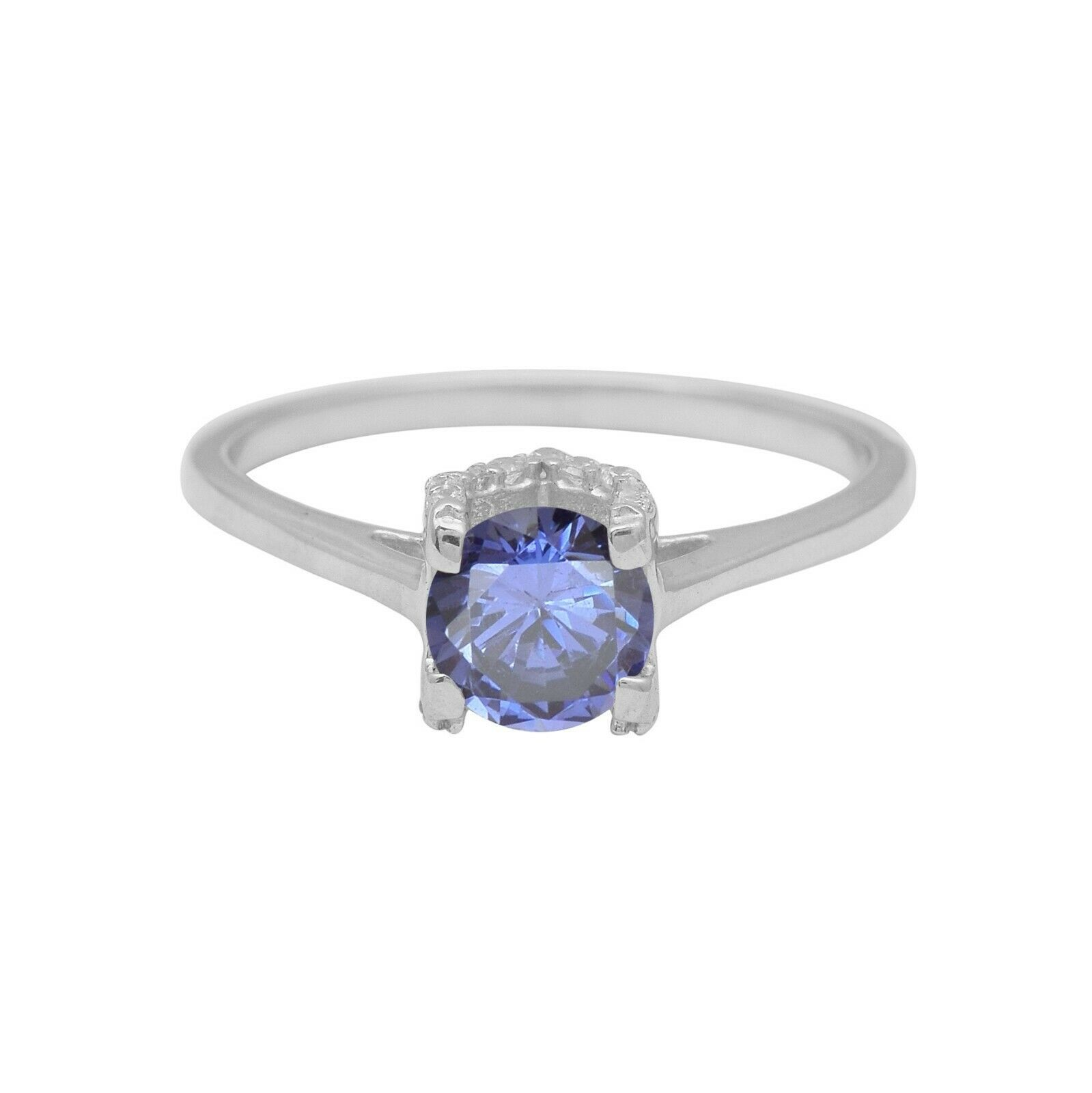 925 Sterling Silver Simuleted Tanzanite 1.45Ct Round Cubic Zircon Solitaire RIng