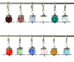 Wholesale Lot Birthstone Bead Clip Dangle Charm For Rolo Chain Floating Locket - $24.74+