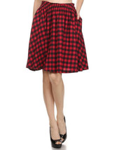 Red Check Cotton Flared Full Skirt - Work or Pl... - $32.00