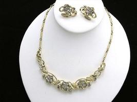 Coro Leaf Neckalce & Earring Set Goldtone & Rhinestone - $24.40