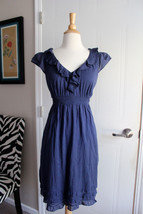 Anthropologie Maeve Navy Blue Ruffle Short Cap Sleeves Dress Sz 4 - $12.34