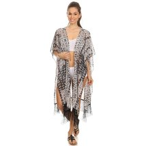 Womens Black and White Midi Poncho with Fringe - $34.00