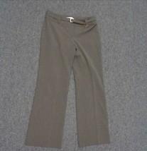 ANN TAYLOR LOFT PETITES Dark Brown Straight Leg Pants W Belt Polyester  ... - $25.69