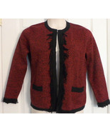 Designers Originals Women's Sz Petite Large Red Cardigan Sweater~Cotton ... - $17.32