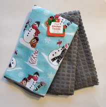 Holiday Towels, Set of 3, Microfiber Tea Hand Towel, Blue Snowman Grey Noel - $12.99