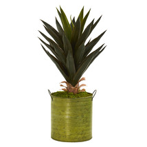 "23"" Agave Artificial Plant in Green Metal Planter - $77.78 CAD"