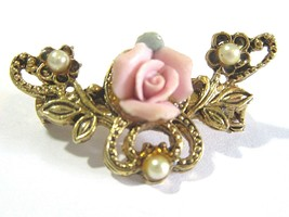 SMALL PIN GOLD TONE FAUX PEARL PORCELAIN PINK ROSE VINTAGE - $22.00