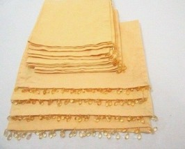 Pottery Barn Beaded Solid Yellow Table Linens 8-PC Fabric Placemats and ... - $45.00