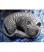 HAND PAINTED BLACK & WHITE STRIPE PRIMITIVE WOODEN RESTING TIGER FIGURINE - $8.99