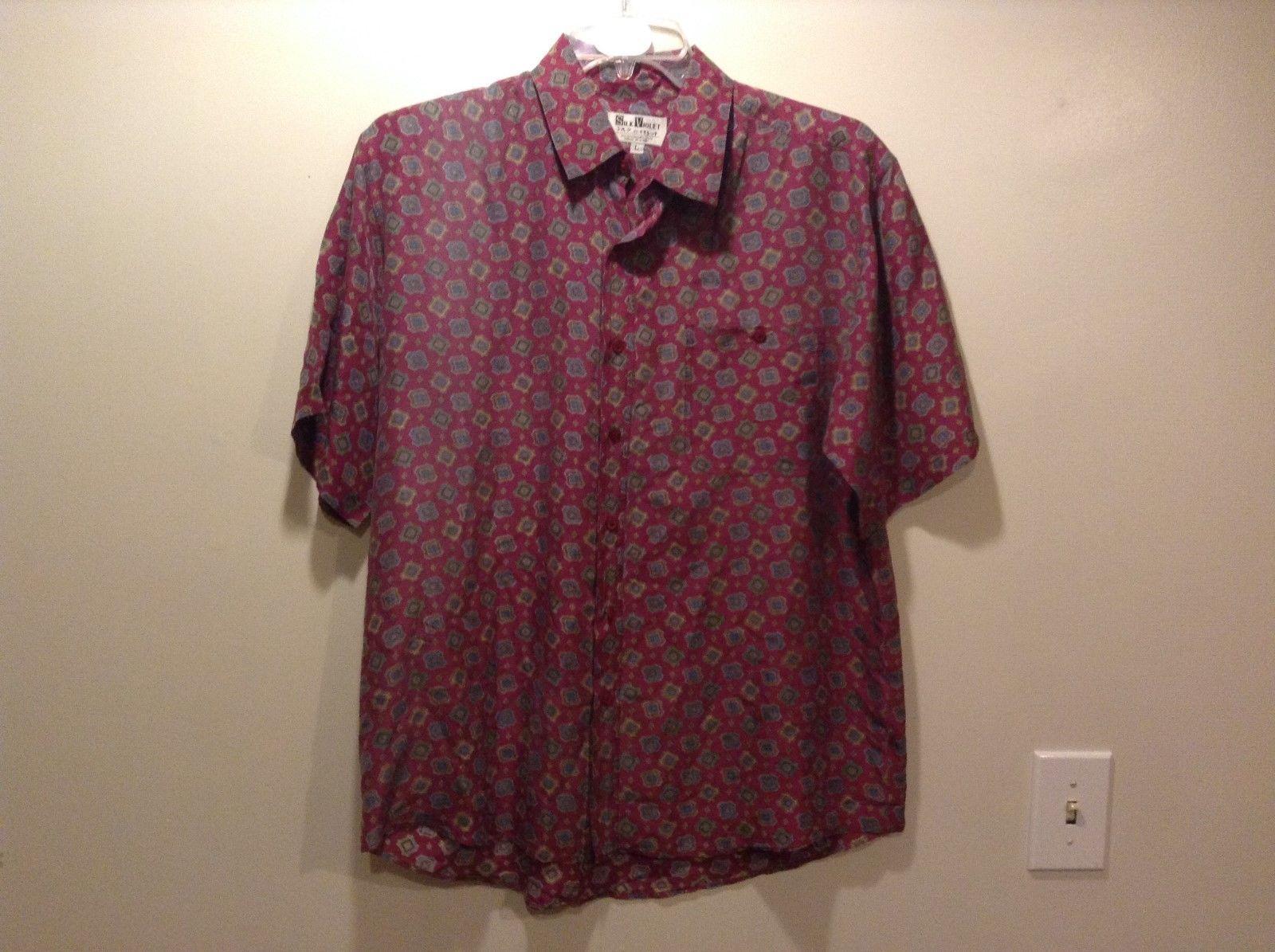 Silk Violet Soft Purple w Blue Teal Lt Green Cream Geometric Design Shirt Sz LG