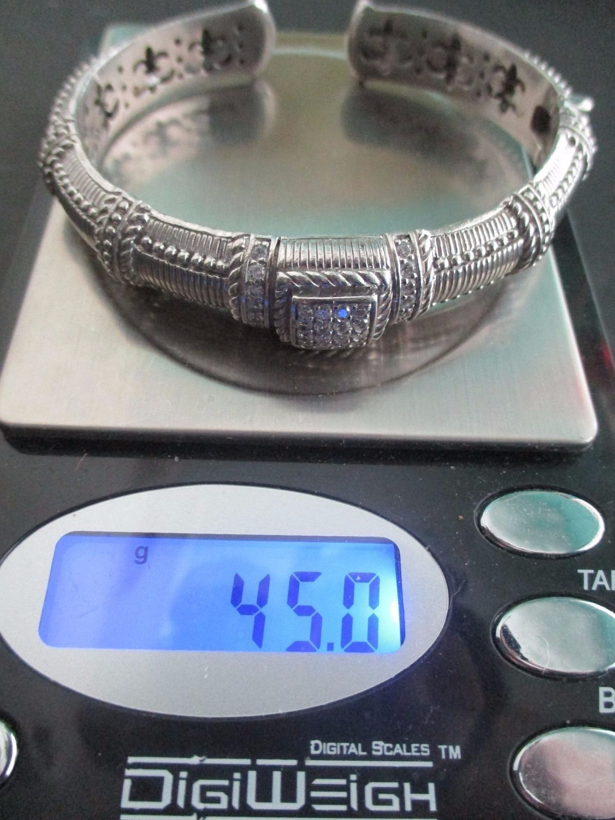 Judith Ripka Sterling Diamonique Textured Hinged Cuff Bracelet Sz AVG Box/Pouch