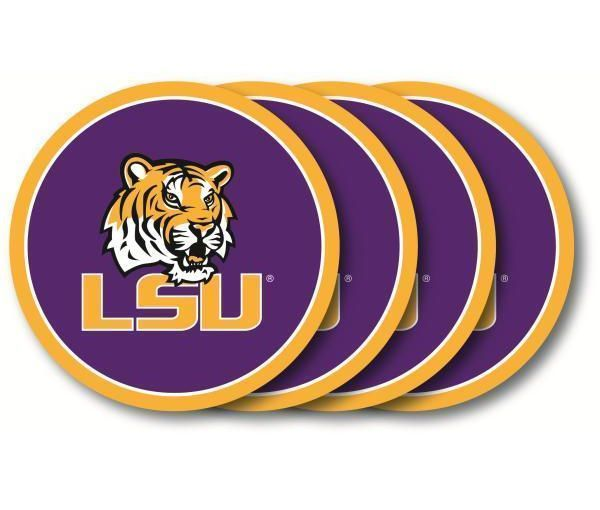 LSU TIGERS 4 PACK HEAVY DUTY VINYL DRINK COAFLORIDASTER SET NCAA