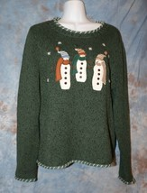 Womens Green Snowman Accent Christopher & Banks Sweater Size Small excel... - $7.91