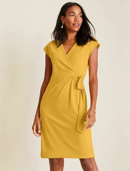 Primary image for New Ann Taylor Piped Matte Jersey Yellow Cap Sleeve Belted Lined Wrap Dress 18