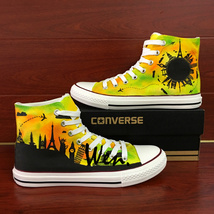 Original Hand Painted Converse Shoes Travel World Famous Landmarks Sneakers - $159.00
