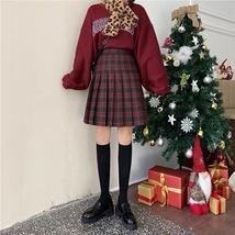 Knee Length Pleated Plaid Skirt Women Plus Size Navy Black Pleated PLAID SKIRTS image 14