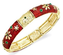 Charter Club Gold-Tone Red Poinsettia Stretch Bracelet - $9.89