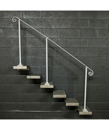 8 Steel Stair Railing Handrail | Base Plate Posts | Iron Grab Rail - $210.00