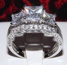 2.86ct Princess Cut Wedding Ring Set Engagement Diamond Simulated 925 Womens - $37.99