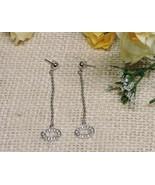 "Silver Plated Green Peridot Dangle Drop Circle Oval Earrings 2.5"" Inch B... - $24.70"