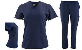 DSF Women's Four Stretch V-Neck Mesh Panel Scrub Set Top Cargo Pants - $21.99