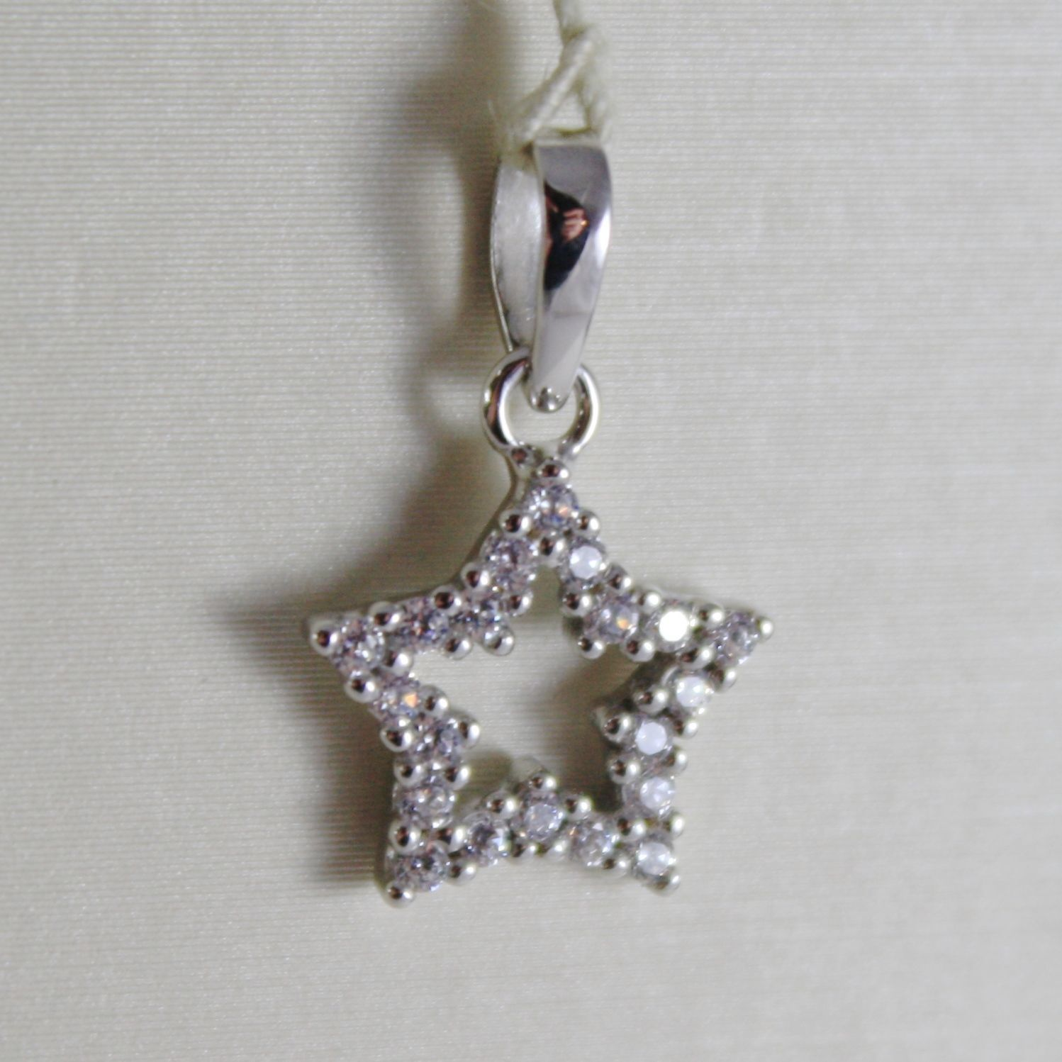 18K WHITE GOLD MINI STAR PENDANT, LENGTH 0.63 INCHES, ZIRCONIA, MADE IN ITALY
