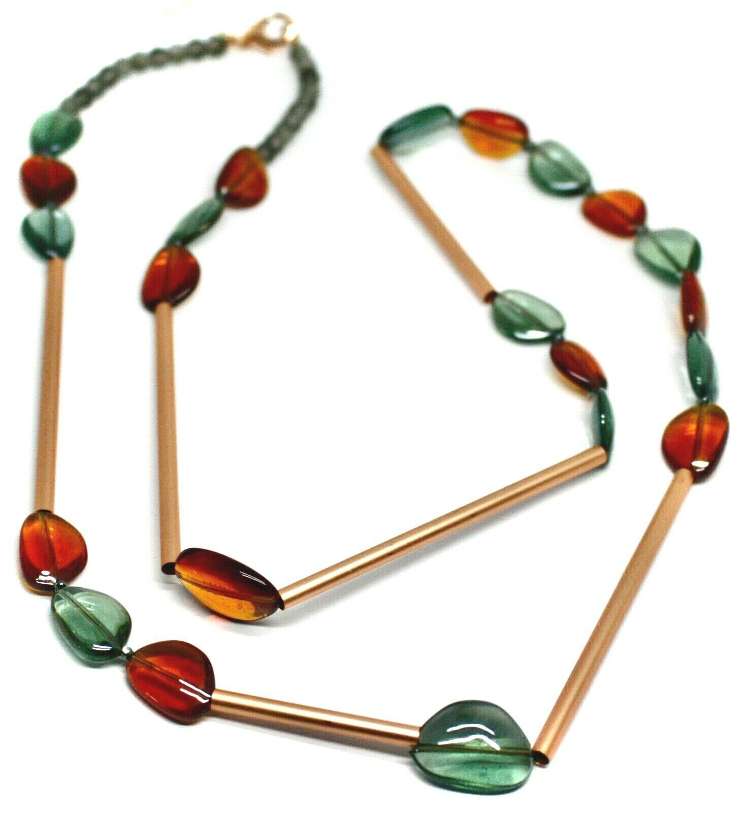 "ROSE NECKLACE AMBER GREEN ROUNDED DROPS OF MURANO GLASS TUBE ALTERNATE 40"" LONG"
