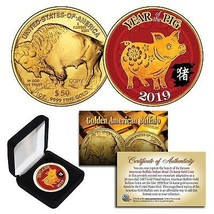 2019 Lunar YEAR OF THE PIG 24K Gold Clad $50 American Buffalo Tribute Co... - $10.36