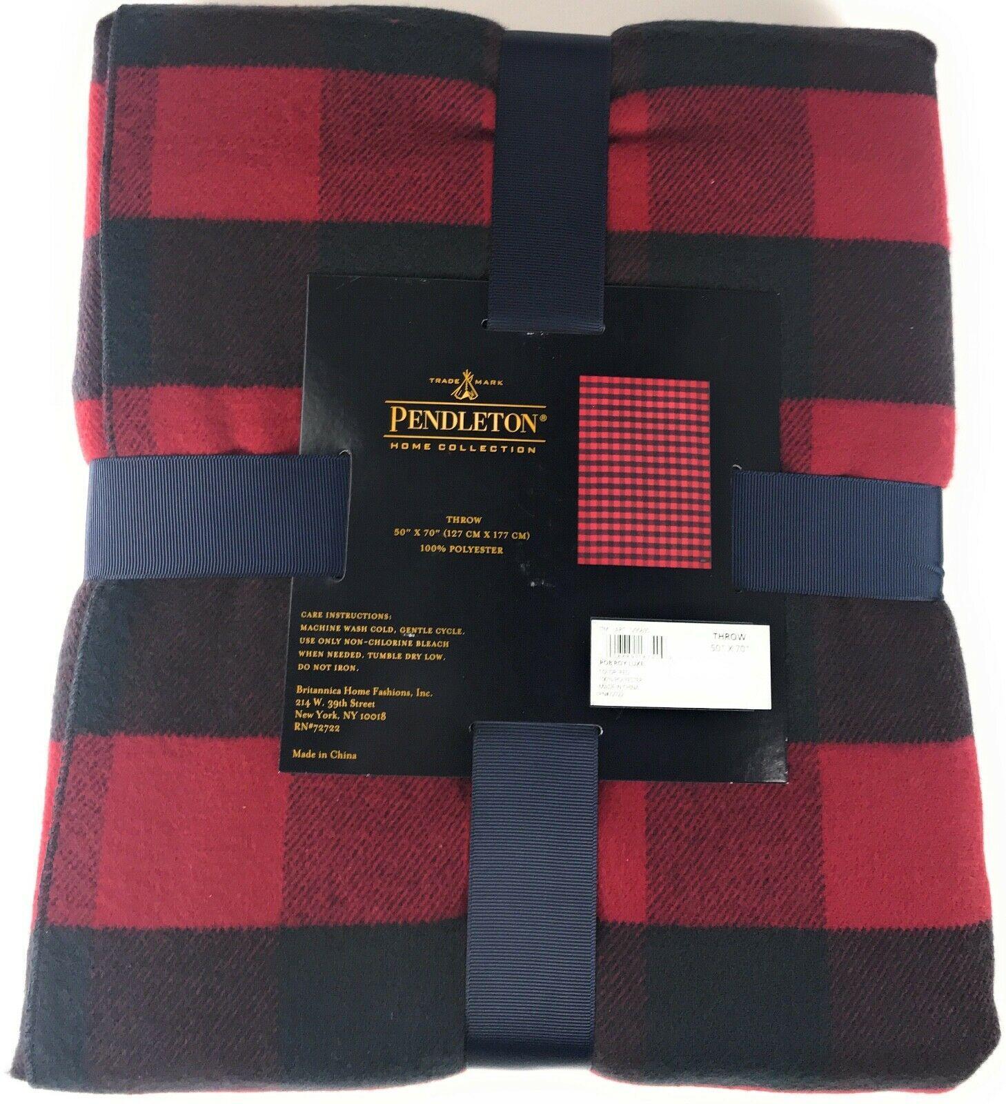 "Pendleton Rob Roy Luxe 100% Polyester 50""x70"" Throw Blanket Red Navy Plaid NWT"