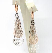 18K WHITE ROSE GOLD PENDANT EARRINGS, TRIPLE WORKED DROP, LEVERBACK CLOSURE image 3