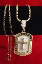 "Hip Hop 14K Gold Iced Out Sandstone Inlay Cross Pendant Necklace 30"" Box... - $7.69"