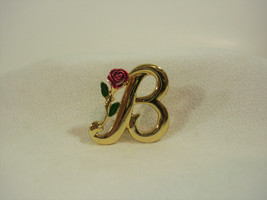 Razza Initial B Gold Plate with Red Enamel Rose Brooch Pin Little Vintage Estate - $14.80