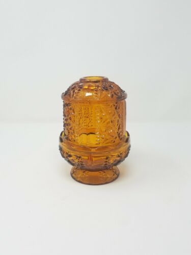 Primary image for Vtg Indiana Glass fairy lamp amber stars/bars cut glass covered candle holder
