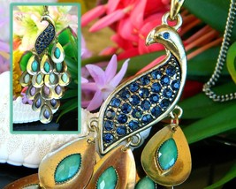 Vintage Peacock Bird Chandelier Tail Pendant Necklace Blue Rhinestones - $18.95