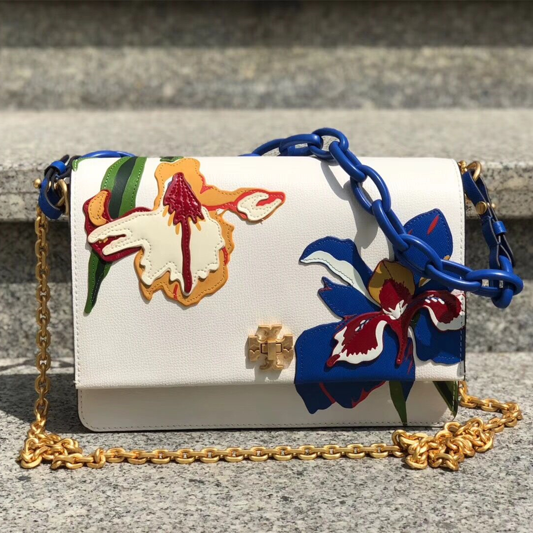 Tory Burch Kira Floral Double-Strap Shoulder Bag