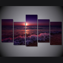 5 Pcs Greece Ionian Sea Evening Wall Pictures Home Decor Printed Canvas ... - $45.99+
