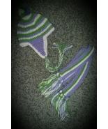 Kids Green & Purple Handmade Crochet Hat & Scarf Set - $35.00