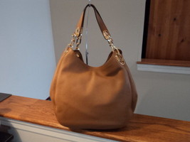Michael Kors Fulton Large Shoulder Tote Acorn Brown Pebbled Leather $39... - $247.49